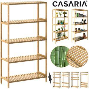 Casaria Standregal Badregal Bambus 5 Ablagen Höhenverstellbar 130x60x26 cm Küchenregal Kellerregal Bad Holz