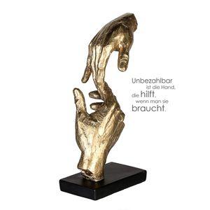 """Casablanca Skulptur Two hands Poly """"unbezahlbar ist die hand, die hilft, wenn man sie braucht"""" 89228"""