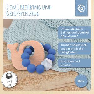 Bieco Beißring Baby mit Silikon Perlen Blau, 13 cm   ab 0 Monate   Zahnungshilfe Baby   Baby Greifling mit Holz Wal   Beissring Für Baby Zum Zahnen   Motorikspielzeug Baby   Beißring Silikon Baby