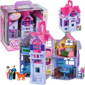 MalPlay Puppenhaus mit Möbeln und Zubehör | Klappbar Familie Figuren mit Hund | Tragbar l Ferienhaus | tolles Geschenk für Kinder ab 3 Jahren