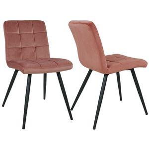 Duhome 2er Set Esszimmerstuhl Polsterstuhl aus Stoff Samt Rosa Pink Metallbeine