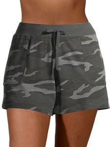 Damen Sport Camouflage Print Lässige Shorts Sommer Strand Kordelzug Kurze Hosen,Farbe: Grau,Größe:3XL