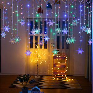 ROSNEK 96 LED Schneeflocke Lichterkette Wasserdicht Lichtervorhang Weihnachten Dekoration, Mehrfarbig