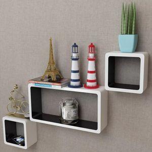 dereoir 3er Set MDF Hängeregal Cube Regal für Bücher/DVD, weiß-schwarz