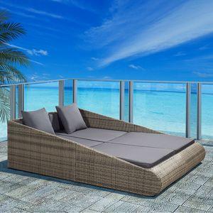Juskys Polyrattan Sonnenliege Mykonos – XXL Outdoor Doppelliege mit Polster Kissen in grau waschbar – für Garten & Balkon – Gartenliege Sonneninsel