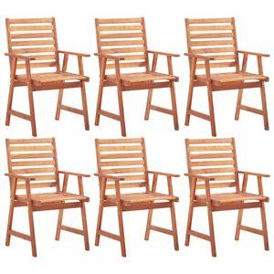 Gartenstühle 6er Set Massivholz Akazie - Balkonstuhl Terassenstuhl Relaxstuhl für Garten