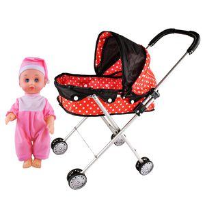 Babypuppe und Puppen Kinderwagen, Buggy, Puppenwagen Babypuppen Wagen Set D. Mehrfarbig Kinderwagen Puppenwagen Kinder geben vor zu spielen