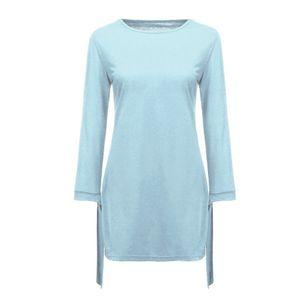 Damenmode O-Ausschnitt Solid Bow Elegant Straigth Kleid Spring Loose Mini Kleider Größe:XL,Farbe:Blau