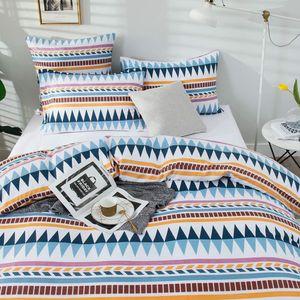 Ethnisch Boho Gestreift Mikrofaser Bettwäsche 220x240cm Bettbezug Blau Weiß Modern Geo Muster Bettwäsche Set und 2x 80x80cm Kissenbezug
