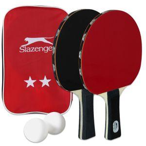 Slazenger Tischtennisschläger Set mit Tragetasche 2 Schläger 2 Bälle Tischtennis Ping Pong