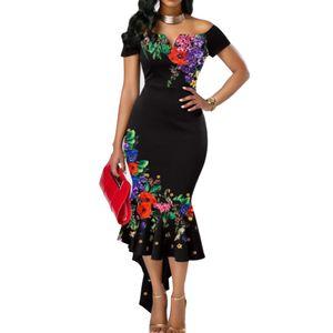 Sexy Frauen Blume von der Schulter gestickt Asymmetrische Bodycon Meerjungfrau Kleid schwarz XXL