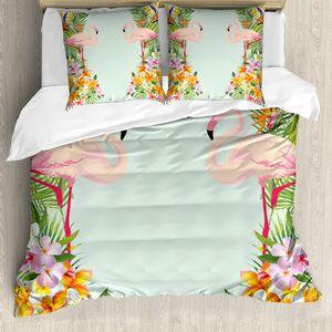 ABAKUHAUS Flamingo Bettwäsche Set für Doppelbetten, Tropische Blumen Tiere, Weicher Microfaserstoff Allegigeignet kein Verblassen, Babyblau Mehrfarbig