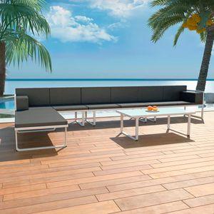 Garten-Palettensofa-Set 5-TLG. Sitzgruppe Gartengarnitur Garten-Lounge-Set Textilene Aluminium Schwarz☆1909