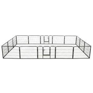 Hunde-Laufstall 16 Paneele Stahl 60x80 cm Schwarz | Hundekäfig Hundehaus Hundehütte Hundebox Hundetransportbox
