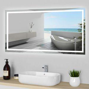Wandspiegel 120×70 cm LED Spiegel mit Touch Beschlagfrei Wandspiegel mit LED Beleuchtung CE IP44