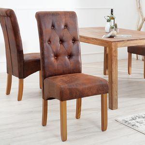 2er Set Edler Kolonial Stuhl CASA mit Nackenrolle  whisky-braun Vintage Look mit Zierknöpfen Massivholzbeine Sheesham