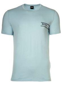 HUGO BOSS Herren T-Shirt -  Rundhals, Pure Baumwolle, Logo Hellblau L