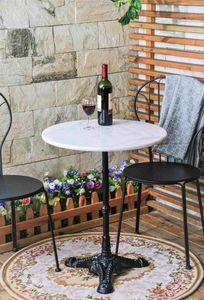 SIT Möbel Bistrotisch aus Marmor & Gußeisen in weiß,  schwarz|B60 x T60 x H71 cm|09999-11|Serie THIS & THAT