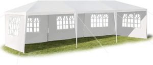 GOPLUS 3 x 9 m Partyzelt, Pavillon Zelt mit Fenstern, Festzelt mit Metall - Konstruktion, Faltpavillon aus PE- Plane, mit Abnehmbare Seitenwänden, für Feste Party Hochzeit, Weiß (Muster 2)