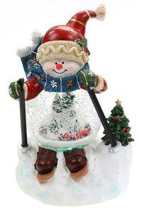 Schneekugel als Skifahrer-Schneemann mit Schneewirbel, Licht & Musik H.: 21cm
