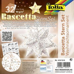 """folia Faltblätter Bascetta-Stern """"Ornament 1"""" 150 x 150 mm 32 Blatt weiß kupfer"""