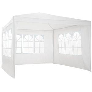 tectake Garten Pavillon 3x3m mit 3 Seitenteilen - weiß