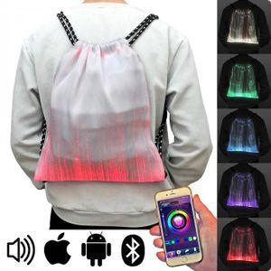 Leuchtender Glasfaser LED-Rucksack weiss App gesteuert