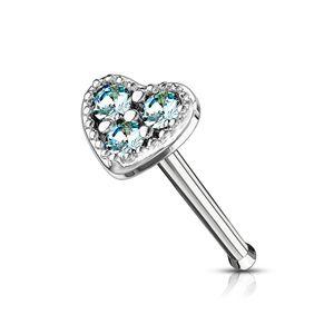 Nasenpiercing Stecker Herz Heart Nasenstecker Stift Nasen Piercing Zirkonia Kristalle Autiga® silber-aquamarin
