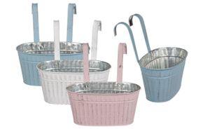 Blumentopf Pflanztöpfe Hängetöpfe  Metall Pastellfarben für Balkon oder Geländer Vintage Design 3 Stück , Größe:23 cm