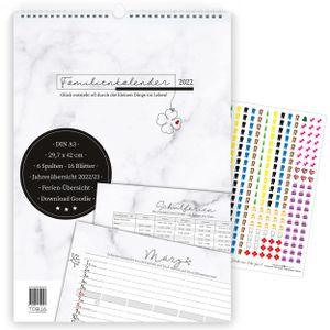 Familienkalender 2022 Wandkalender 6 Spalten +300 Sticker A3 XL Familienplaner