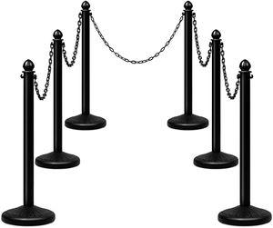 COSTWAY Personenleitsystem schwarz, 6 Absperrpfosten mit 5 abnehmbaren Ketten, Abgrenzungsständer Absperrständer aus Kunststoff