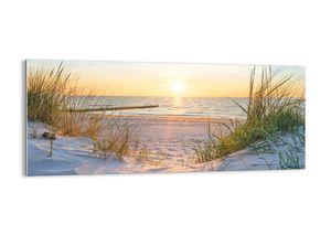 """Glasbild - 120x50 cm - """"Das Rauschen des Meeres, das Singen von Vögeln, ein wilder Strand zwischen den Gräsern ...""""- Wandbilder  - Meer Wellenbrecher - Arttor - GAB120x50-3989"""