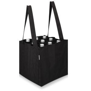Navaris Bottlebag 9 Fächer Flaschentasche - 27 x 27 x 27 cm Flaschen Tasche schwarz reißfest - 9er Tragetasche waschbar - Flaschengröße bis 1,5L