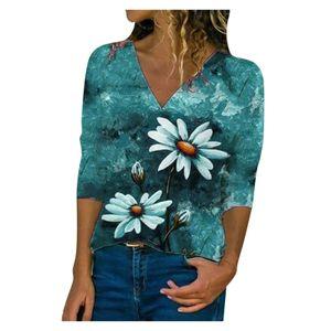 Damen-Halbarm-Druck druckt Weste Lose lässige T-Shirt-T-Shirt-Bluse mit V-Ausschnitt Größe:M,Farbe:Grün