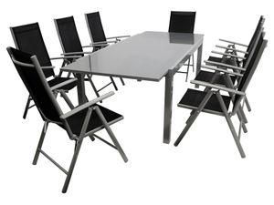 DEGAMO Gartenset Sitzgruppe Gartengarnitur RAVENNA 9-teilig, 8x Klappsessel 8-fach verstellbar, 1x Ausziehtisch mit Glasplatte 180/240x100cm), Aluminium + Kunstgewebe schwarz