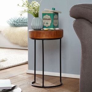 WERAN Beistelltisch Massiv Wohnzimmer-Tisch Metallbeine Landhaus-Stil Baumstamm-Form Echt-Holz Natur