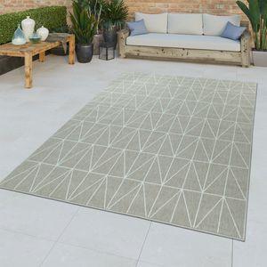 In- & Outdoor-Teppich, Flachgewebe Mit Bordüre Für Balkon Und Terrasse in Beige, Größe:160x230 cm