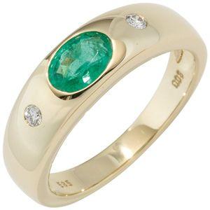 JOBO Damen Ring 585 Gold Gelbgold 1 Smaragd grün 2 Diamanten Brillanten Goldring Größe 60