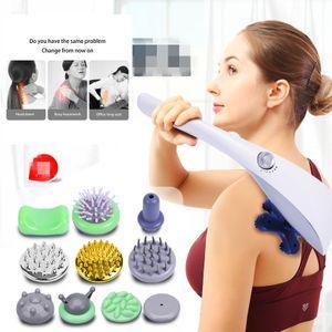 4-Kopf Elektrisches Handmassagegerät Ganzkörpermassage Nacken Schulter Ganzkörper Vibration Handmassagegerät mit 10 Massageköpfen
