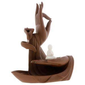 Mönch Räuchergefäß Keramik Wasserfall Rückfluss Buddha Hand Räuchergefäß Stil 02 无 面 16,5 x 7,8 x 21,2 cm