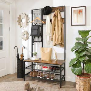 VASAGLE Garderobenständer mit Sitzbank | Kleiderständer mit 9 Kleiderhaken und Schuhregal Garderobe 185 cm hoch Vintage dunkelbraun HSR98BX