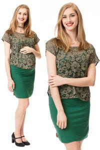 GFWL Umstandskleid Stillkleid, Stillshirt #Set, Schwangerschaftskleid, Still Kleid, Stillen GF2416XG in Olivgrün plus grün, Größe Damen EU:38 Medium