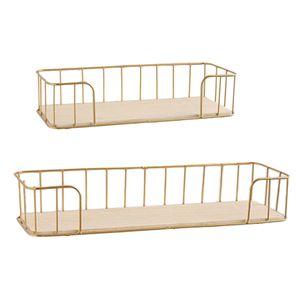 2 Stücke Wandregal Hängeregal Schweberegal aus Eisen und Holz zur Präsentation für Wohnzimmer Kinderzimmer Schlafzimmer