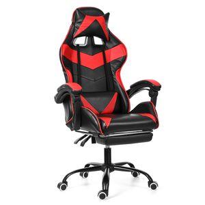 Meco Bürostuhl Drehstuhl Schreibtischstuhl Gaming-Stuhl 150 Grad liegend mit Fußstütze Bürosessel Rot