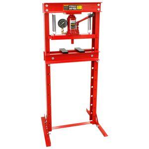 ECD Germany Hydraulische Werkstattpresse 20 Tonnen Presskraft mit Manometer, höhenverstellbar 80-1100 mm, aus Stahl, Hydraulikpresse Rahmenpresse Lagerpresse Dornpresse Presse 20000kg
