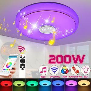 MECO Led Deckenleuchte mit bluetooth Lautsprecher und Fernbedienung, 200W Dimmbar Deckenlampe Musik RGB mit APP-Steuerung für Küche Kinderzimmer Wohnzimmer Rund 33cm