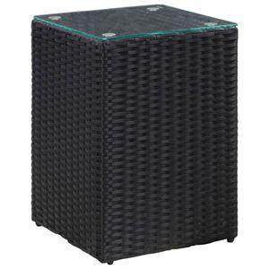 vidaXL Beistelltisch mit Glasplatte Schwarz 35x35x52 cm Poly Rattan