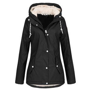 Frauen Solid Rain Jacke Outdoor Hoodie Wasserdichter Mantel Lady Windproof Coat Größe:XL,Farbe:Schwarz
