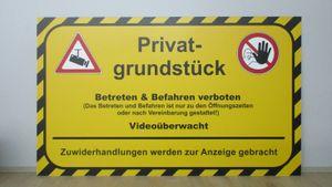 Schild Alu-Verbund Privatgrundstück Betreten Verboten Videoüberwacht 20x30cm