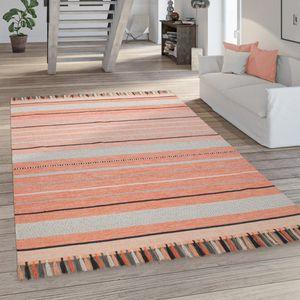 Wohnzimmer-Teppich, Flachgewebe Im Ethno-Design, Handgewebt, In Rot Und Apricot, Grösse:160x220 cm
